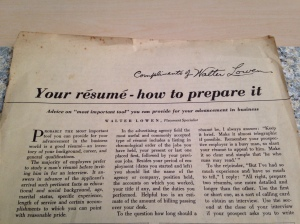 old article on how to prepare a resume