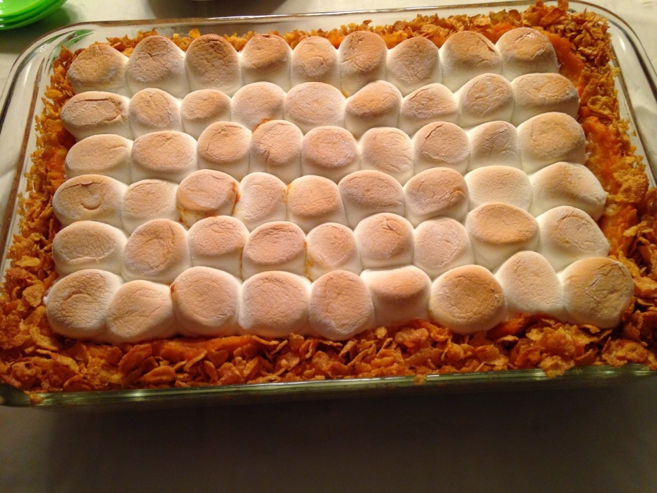 sweet potato pie with marshmallows on top