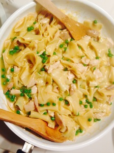 Turkey and noodles with peas