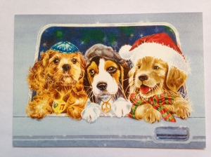 3 dogs with different holiday caps
