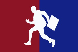 man running with suitcase