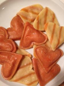 Heart-shaped ravioli