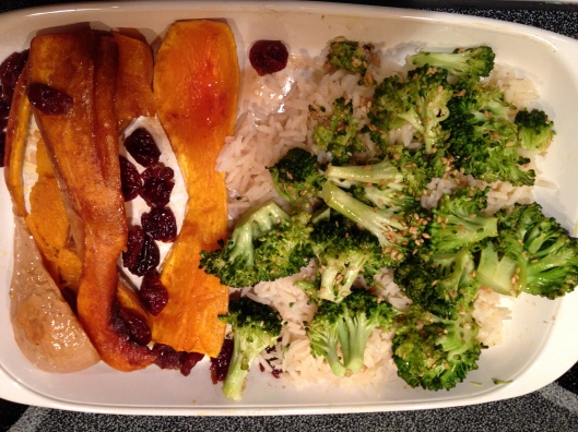 squash, broccoli and rice