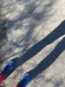 Blue sneakers and shadow of two legs